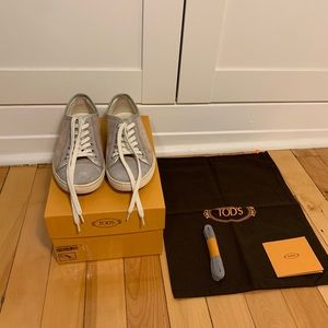 TOD'S Grey And Pink Suede Sneakers